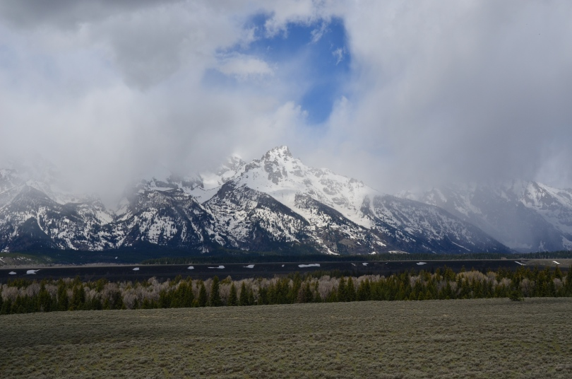 Our second siting of The Grand Tetons. Were we ever going to see them with a clear sky?!