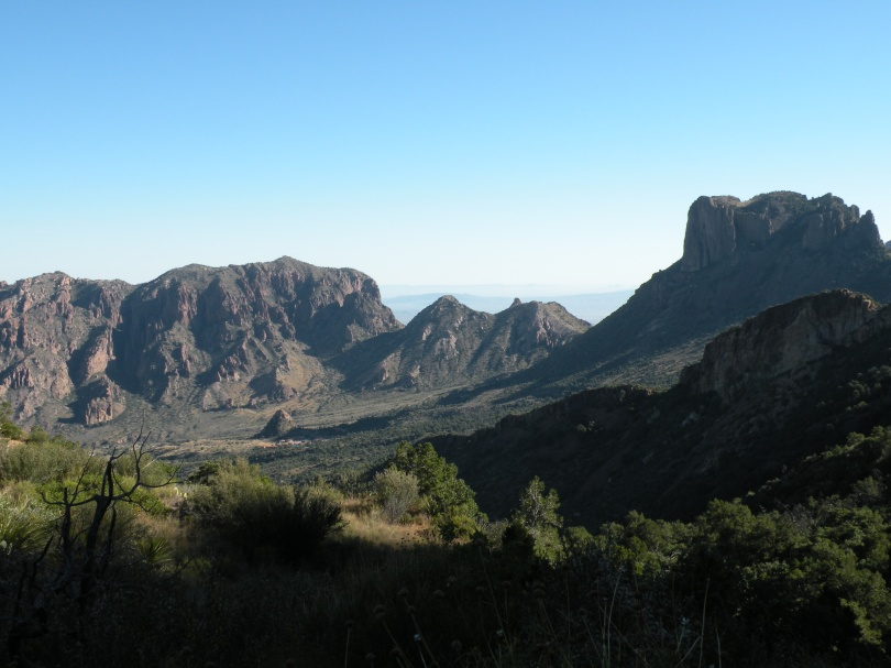 A view of the Chisos Basin. The high elevations of Big Bend National Park include the Chisos Mountain range. This photo was taken of the basin of the Chisos Mountains from the Laguna Meadows Trail.