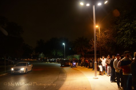 The Crowd stretched from the beginning of the parking lot