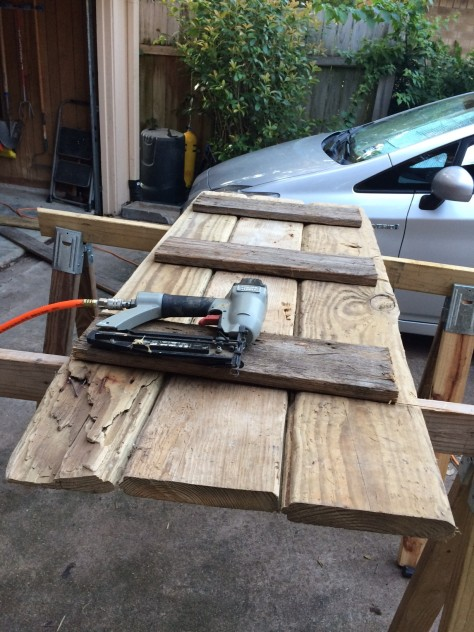 We used old boards and a nail gun to start off, and then secured the boards from the top with screws.